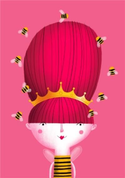 Modern Cute Illustration Queen Bee Beehive Card