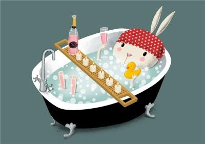 Modern Cute Illustration Pampered Rabbit Relaxing In Bath Card