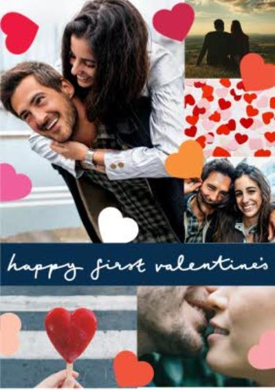 Colourful Hearts And Metallic Balloons Photo Valentines Day Card