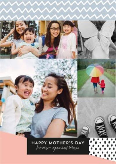 Pretty Pastels And Geometric Print Mother's Day Photo Card