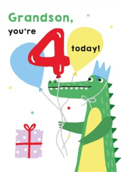 Illustrated Cute Crocodile Party Grandson Youre 4 Today Birthday Card