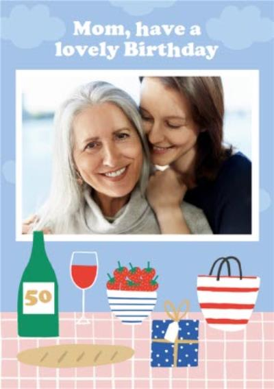 Illustrated Picnic Happy 50th Birthday Mom Photo Upload Card