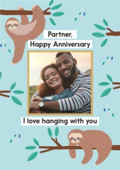 Personalised Photo With Sloth Illustration Anniversary Card