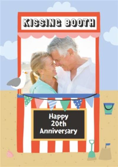 Personalised Photo Illustrated Kissing Booth 20th Anniversary Card