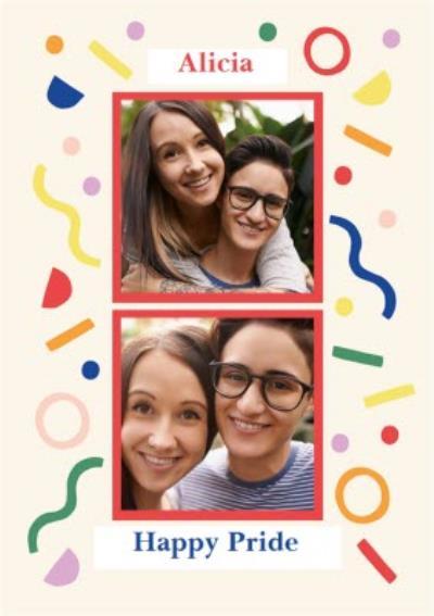 Abstract Confetti Photo Upload Pride Card