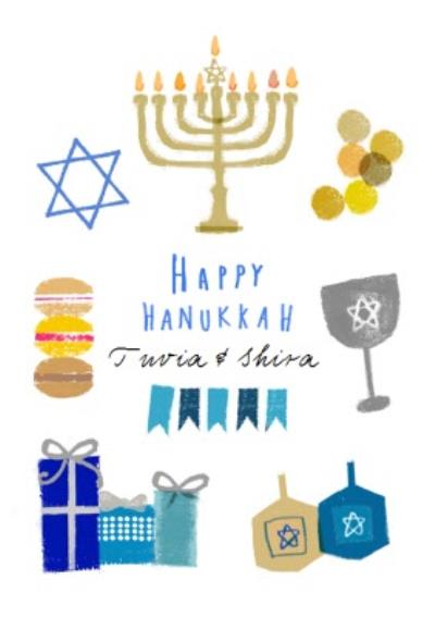 Hand Drawn Personalised Hanukkah Menorah Card