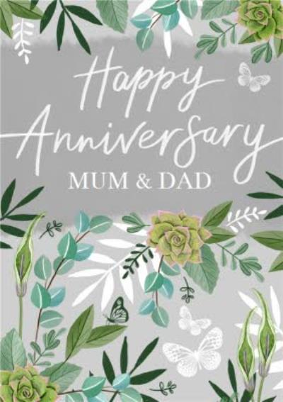 Happy Anniversary Mum And Dad Floral Anniversary Card