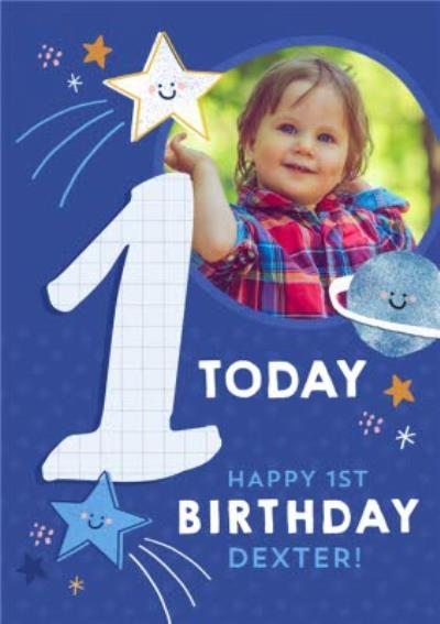 Cute Space Photo upload 1st Birthday Card