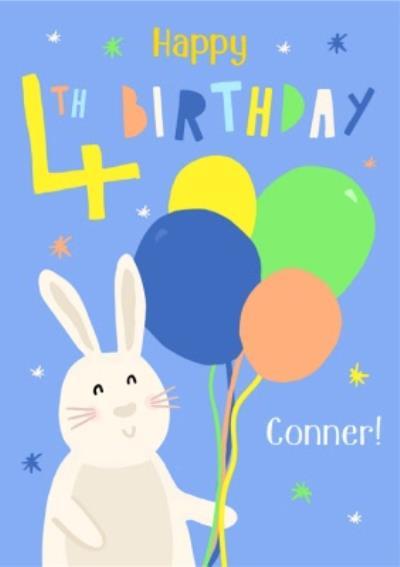 Illustrated Rabbit Bunny Farm Animals Happy 4th Birthday Card