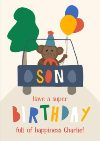 Illustrated Monkey Son Have A Super Birthday Card