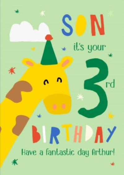 Illustrated Giraffe Son Its Your Brthday Card