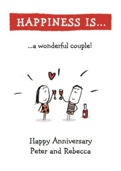 Happiness Is A Wonderful Couple Personalised Happy Anniversary Card