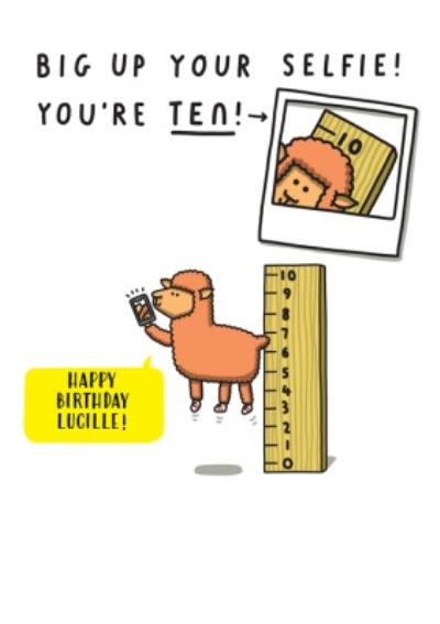 Big up your selfie you're ten sheep Kids 10th Birthday card