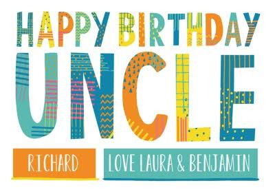Bright Patterned Letters Uncle Happy Birthday Card