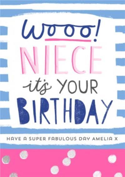 Wooo! Modern super fabulous Niece Birthday Card