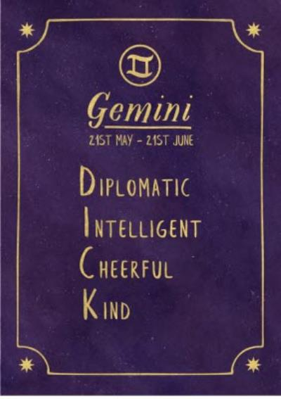Funny rude horoscope birthday card - Gemini