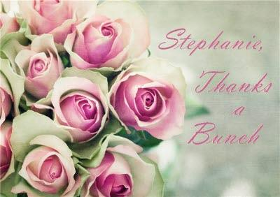 Bouquet Of Pink Roses Personalised Thanks A Bunch Card