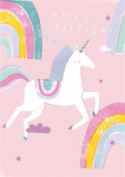 Unicorn Rainbows Cute Happy Birthday Card