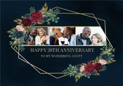 Hope Blossoms Happy 20th Wedding Anniversary Photo Upload Card