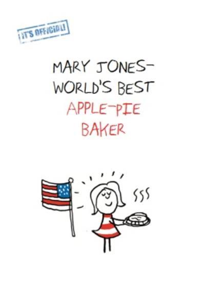 World's Best Apple Pie Baker Personalised Greeting Card