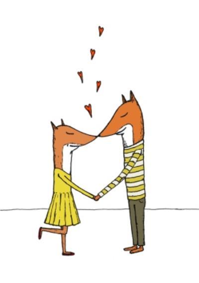 Fox Couple Love Hearts Card