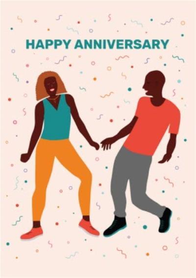 Huetribe Couple Dancing Anniversary Confetti Card