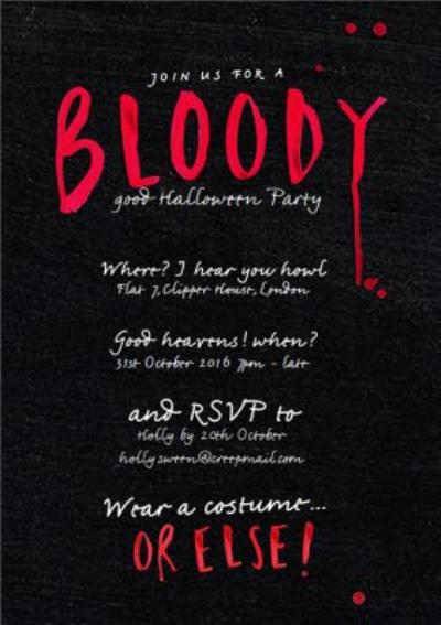 Bloody Scary Halloween Party Invitation