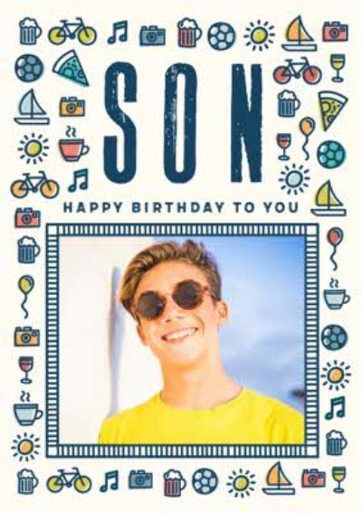 Hobbies Birthday Photo Upload Card - Son