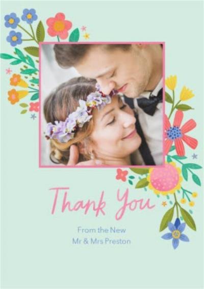 Illustrated Floral Design Wedding Photo Upload Thank You Card
