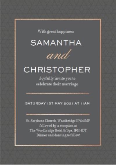 Geometric Pattern Graphic Typographic Wedding Invite Card
