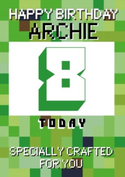 Pixelated Gaming Personalise Age Happy Birthday Card
