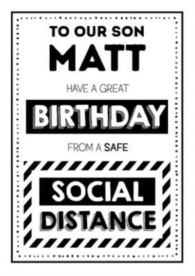 Jam and Toast Son Safe Social Distancing Birthday Card