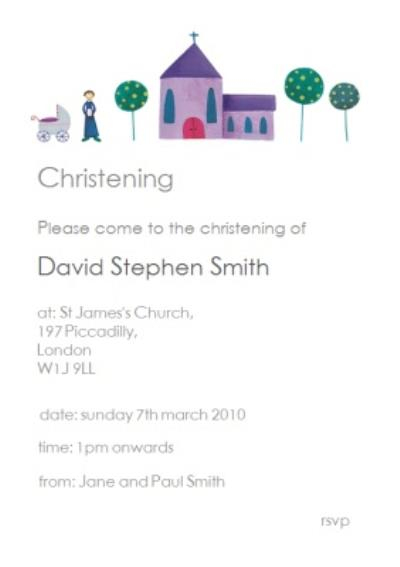 Classic Church With Trees Personalised Christening Invite Card