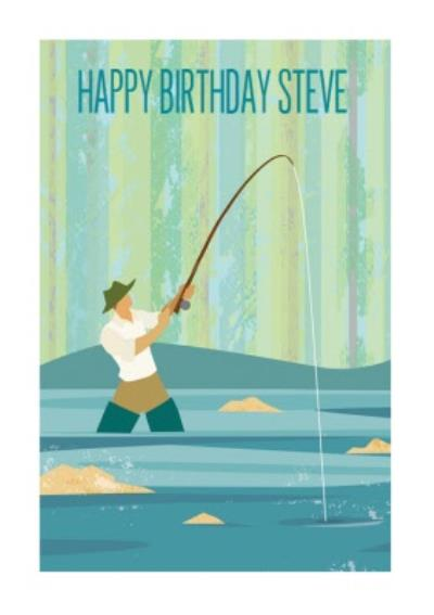 Fly Fishing Personalised Happy Birthday Card