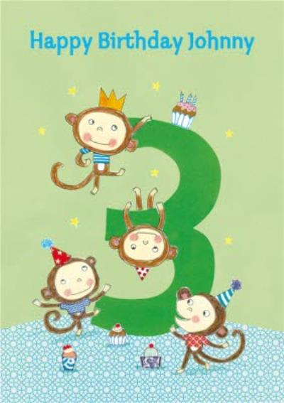 Cheeky Monkeys Happy 3Rd Birthday Card