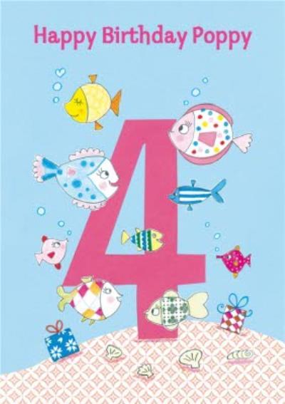 Fun Fishies Happy 4Th Birthday Card