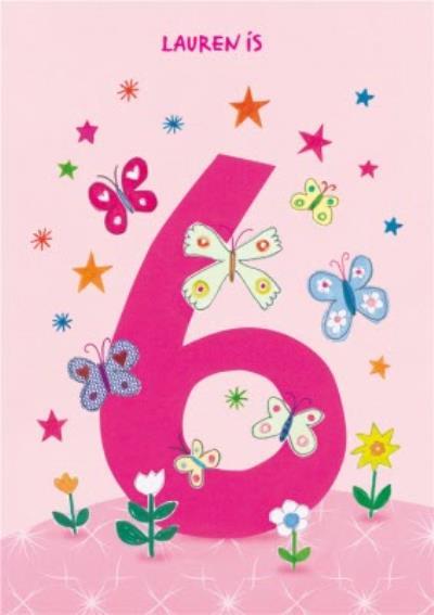 Butterflies 6th Birthday Card