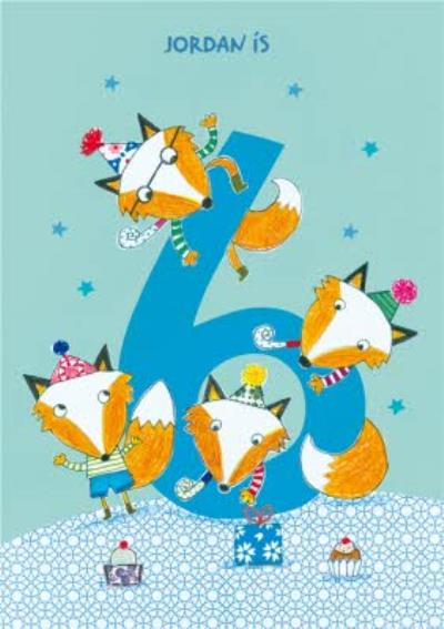 Foxes 6th Birthday Card