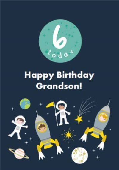 James Ellis Spacekids 6 Today Grandson Birthday Card