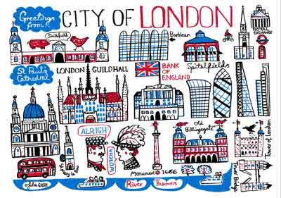 Illustrated Greetings From London Map Card