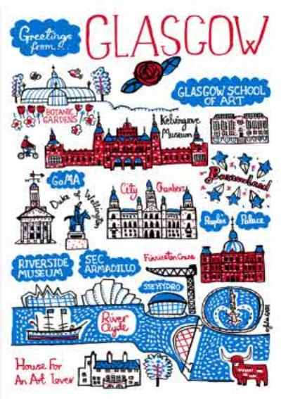 Illustrated Greetings From Glasgow Map Card