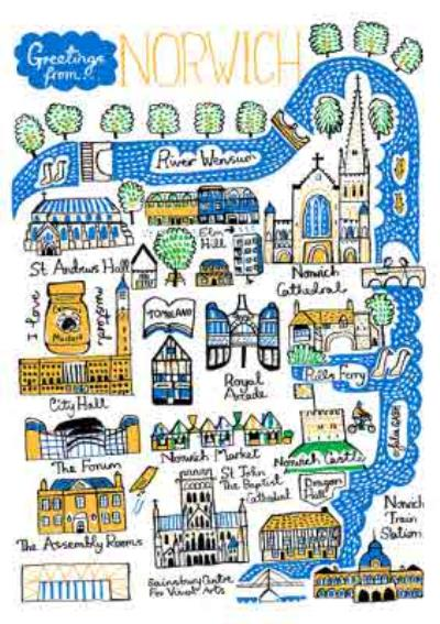 Illustrated Scenic Map Greetings From Norwich Card