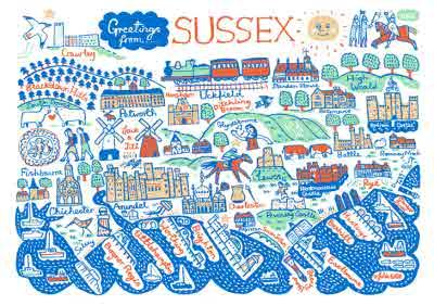 Illustrated Scenic Map Greetings From Sussex Card
