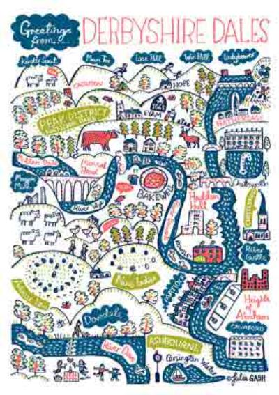 Illustrated Scenic Map Greetings From Derbyshire Dales Card