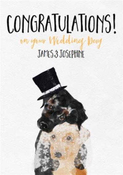 Cute Dog Watercolour Illustration Wedding Congratulations Card