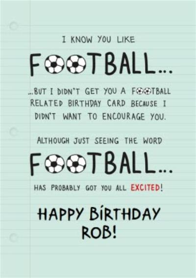 For Football Fans Personalised Birthday Card