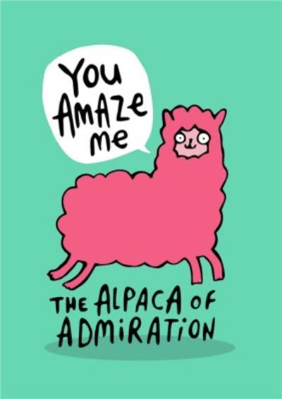 Illustrated Alpaca Of Admiration Congratulations Card