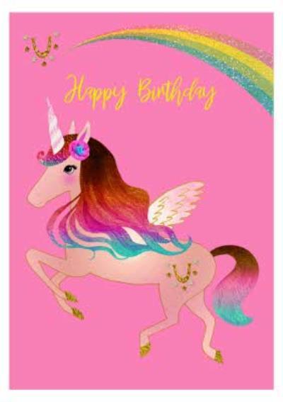 Pink Colourful Unicorn and Rainbow Birthday Card