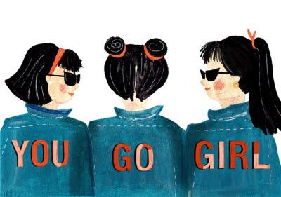 Best Friends You Go Girl Illustrated Card