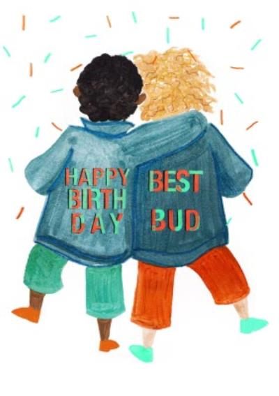 Two Kids Best Bud Birthday Card